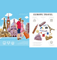 colorful trip to europe concept vector image vector image