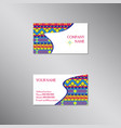creative business card with bright ornament vector image vector image