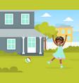cute girl playing ball at house backyard kid vector image vector image