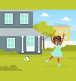 cute girl playing ball at house backyard kid vector image