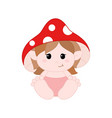 cute little gnome in diapers with mushroom hat
