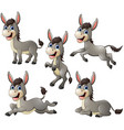 donkey cartoon set collection vector image