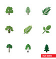 flat icon nature set of tree foliage timber and vector image