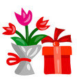 flowers and gift vector image vector image