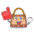 foam finger hand bag mascot cartoon vector image vector image