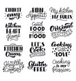 food cooking lettering kitchen hand drawn vector image