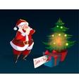 Funny santa Christmas greeting card vector image vector image