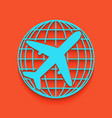globe and plane travel sign whitish icon vector image vector image