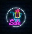 glowing neon sign of supermarket shopping cart vector image vector image