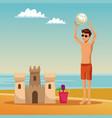 guy having fun at beach summer cartoons vector image