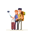 Happy couple doing selfie photo while on vacation vector image vector image