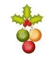 happy merry christmas ball card vector image