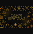 happy new year outline golden frame vector image