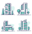 houses set line vector image