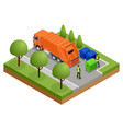 isometric garbage truck or recycle truck in city vector image