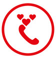 love phone call rounded icon vector image vector image