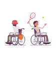 male and female young wheelchair user at sport vector image