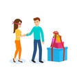 male leads girl to the side large boxes of gifts vector image vector image