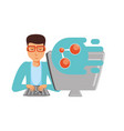 man with desktop computer and share symbol vector image vector image