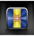 Metal square icon with flag colors of Madeira vector image vector image