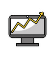 monitor computer with stastistics vector image vector image