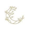 moon tree crescent root leaf outline gold logo vector image