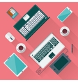 Office desk with laptop tablet smartphone vector image vector image