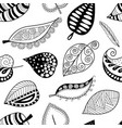 pattern leafs black contour on white background vector image vector image