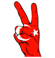 Peace Sign of the Turkish flag vector image vector image