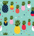 pineapple fruit retro background pattern art vector image vector image