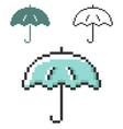 pixel icon umbrella in three variants fully vector image