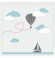 Retro card with aerostat flying in the vector image vector image