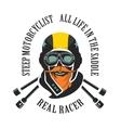 retro emblem motorcyclist vector image vector image