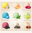 set of cartoon icons ice cream scoops vector image vector image