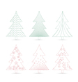 set of christmas trees sketches for design vector image vector image