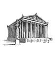 seven wonders ancient world temple of vector image