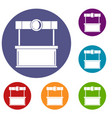 shopping counter icons set vector image vector image