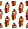 Smiling hot dog seamless pattern vector image