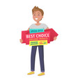 special offer boy with banner in hands vector image