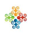 teamwork vintage swirly people logo vector image vector image