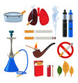 tobacco cigarette and different accessories for vector image vector image