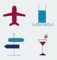 travel and tourism line icons set silhouette flat vector image vector image