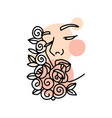 trendy female face silhouette with rose flowers vector image