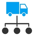 Truck Distribution Links Flat Icon vector image vector image