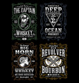 vintage whiskey label t-shirt design collection vector image vector image
