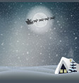 winter night landscape with house moon santa vector image