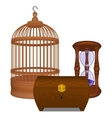 Wooden cage and casket and hourglass vector image vector image
