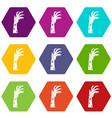 zombie hand icon set color hexahedron vector image vector image