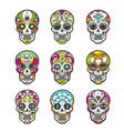 colored sugar skull icons set vector image