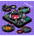 Dance Club Bar Isometric Composition Poster vector image